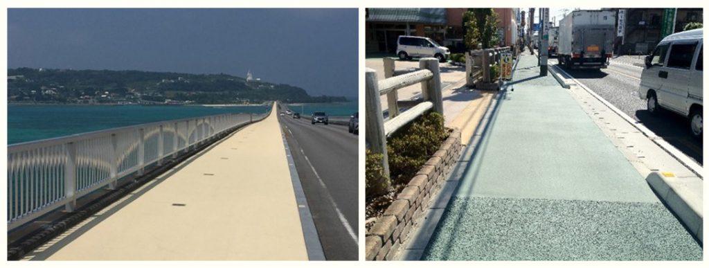 遮熱性舗装が使われている例 歩道