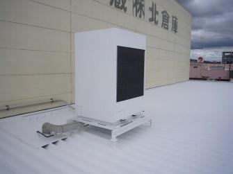 遮熱塗料ミラクール施工実績2008 岡山県 マルエス冷蔵(株)エアコン室外機 S100クールホワイト施工