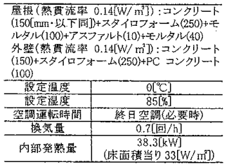 冷蔵倉庫の計算条件