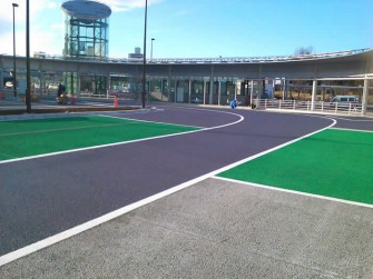 遮熱塗料ミラクール施工写真 道路 茨城県つくば市つくば駅ロータリー